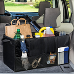 Foldable Vehicle Trunk Organizer With 3 Mesh Side Pockets