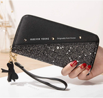 Wallet-NEWANIMA Women Multi-card Two Fold Long Zipper Clutch Purse (Style8-Black)