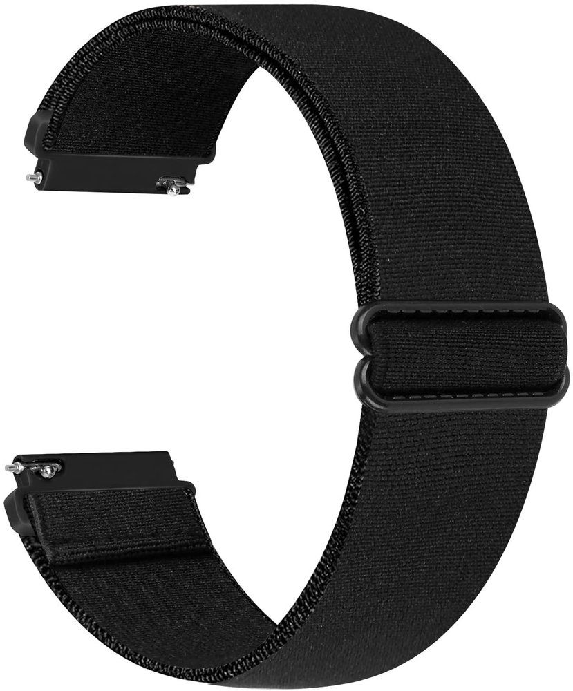 WNIPH 20mm Nylon Elastic Watch Bands Compatible for Galaxy Watch 3 41mm/Galaxy Watch 42mm/Active 2 40mm 44mm/Gear S2 Classic/Gear Sport Adjustable Stretchy Sports Loop Replacement Straps (Black, 20mm)
