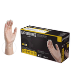 GLOVEWORKS Clear Vinyl Industrial Gloves, Box of 100, 3 Mil, Size Small, Latex Free, Powder Free, Food Safe, Disposable, Non-Sterile, IVPF42100-BX
