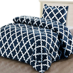 Printed Down Brushed Microfiber Bedding Comforter With Pillow Sham Set