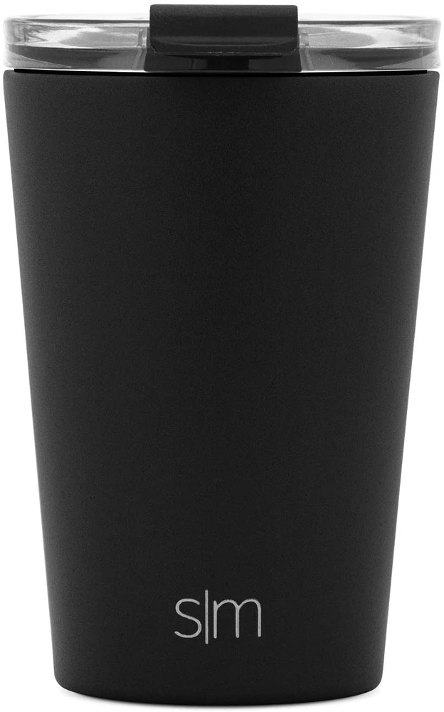 Simple Modern Classic Insulated Tumbler with Clear Lid Stainless Steel Travel Water Bottle Iced Coffee Mug Cup, 12oz (355ml), Midnight Black