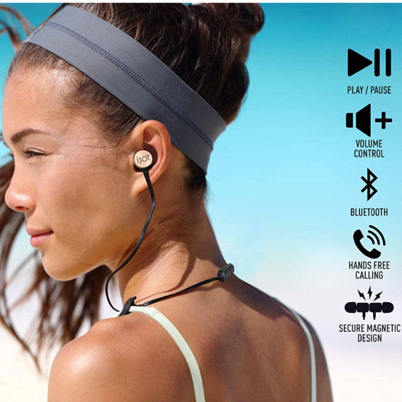 Wireless Bluetooth IPX4 Sweatproof Noise Cancelling Sport Earbuds with Microphone