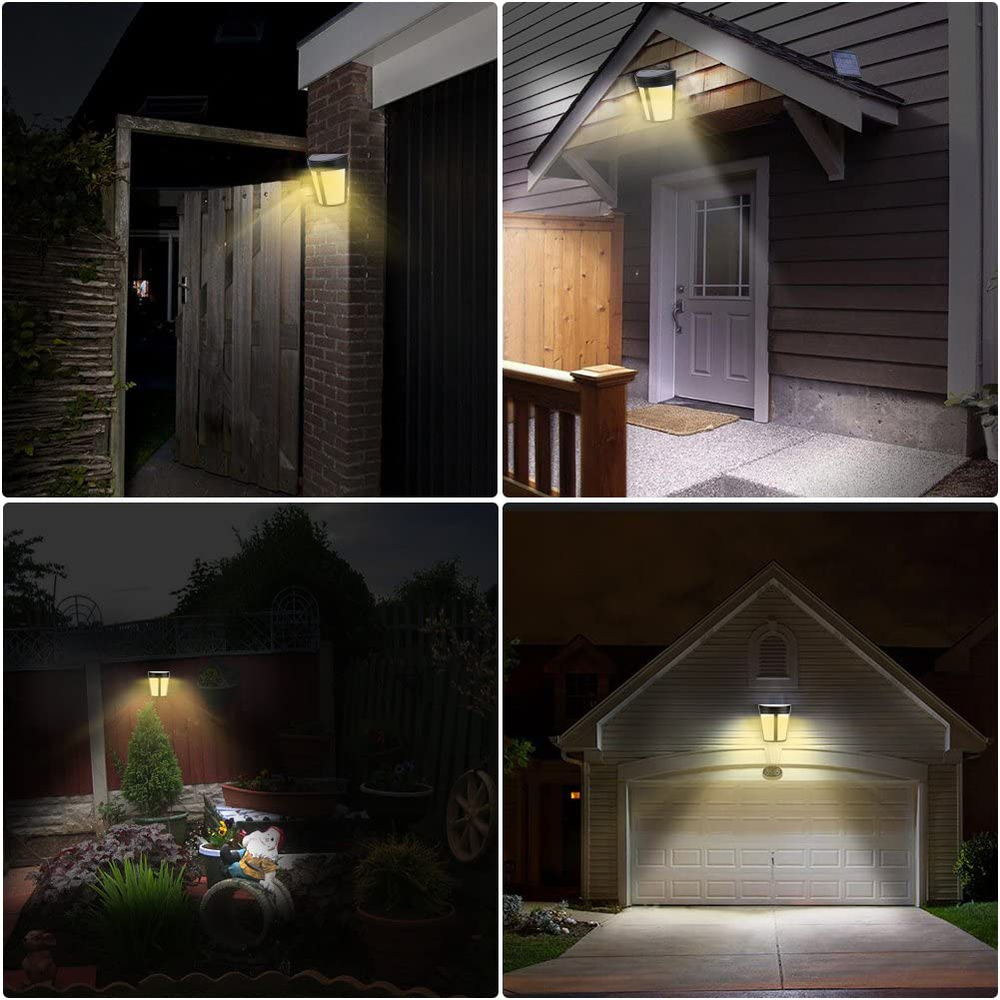 wifehelper Solar Powered Yard Lamp Wall Mount Wireless 6 LED Automatic Light Control Outdoor Garden Garages Pathway Landscape Fence (Warm White)