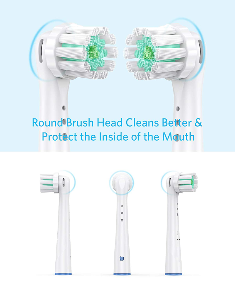 Replacement Toothbrush Heads Compatible With Oral B Braun, Professional Electric Toothbrush Heads Precision Clean Brush Heads Refill for Oral-B 7000/6000/2000/Pro600/D10/D12/D16(4pack) (EB60 Round 3)