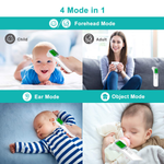 Tupopap Non-Contact Infrared Forehead and Ear Thermometer for Baby Kids and Adults, 4 Modes Digital Ear and Forehead Thermometer with Instant Precision Reading, Fever Alarm and Memory