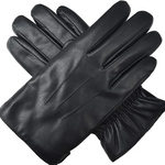 Men's Black Leather Touchscreen Cycling Gloves