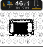 Multi Tool Card Size with Case Gadget Wallet Set - 46 in 1 Pocket kit | Outdoor Camping Multitool Accessories | Stainless Steel | Gift for Men