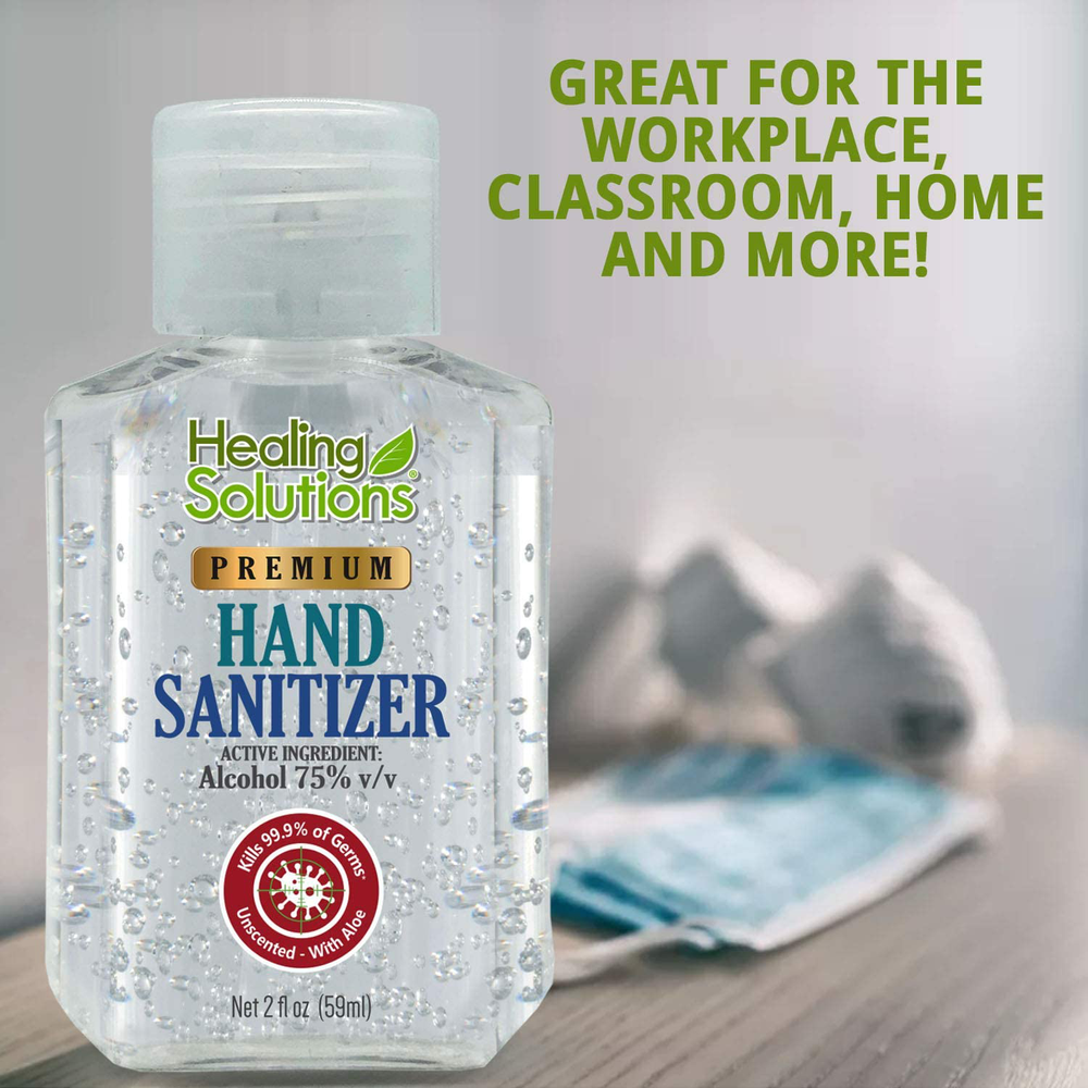 Hand Sanitizer Gel (Mini 2 oz Bottle) - 75% Alcohol - Kills 99.99% of Germs - Small 2oz Travel Size Individual Personal Pocket 2 Ounce Bottles