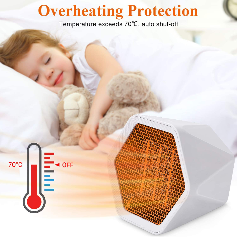 Electric Space Heater,1000W Small Heater Ceramic Space Heater with Overheat Protection,Heat Up in Minutes for Home Office Floor or Desktop