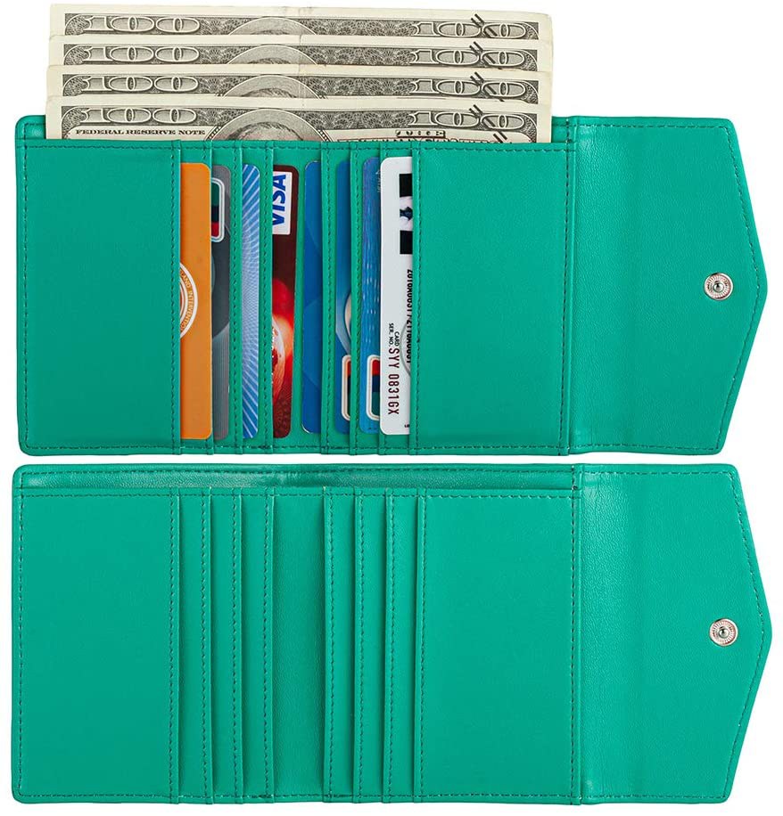 Small Leather Wallet for Women, RFID Blocking Women's Credit Card Holder Pocket Wallet Ladies Purse (mint green)