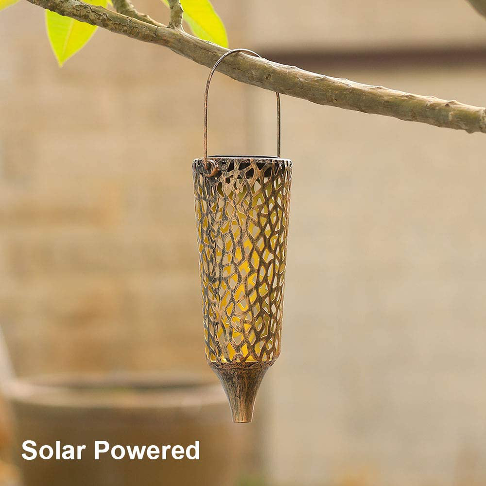Solar Lanterns Outdoor Hanging with Handle Rustic Metal LED Decorative Solar Table Lamps for Patio Yard Pathway