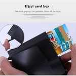 Credit Card Holder Slim Wallet Front Pocket Protector Pop up Design Aluminum Up to Hold 7 Cards (Carbon Fiber Black)