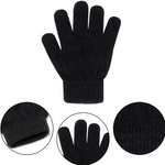 Kids Full Finger Stretchy Magic Winter Knit 12 Pair Glove Set