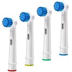 Replacement Brush Heads Compatible With Oral b- Sensitive Gum Care Electric Toothbrush Heads - Pk of 4 Generic Brushes Refill for Oralb Braun- Fits Oral-b 7000, Pro 1000 500 & More!