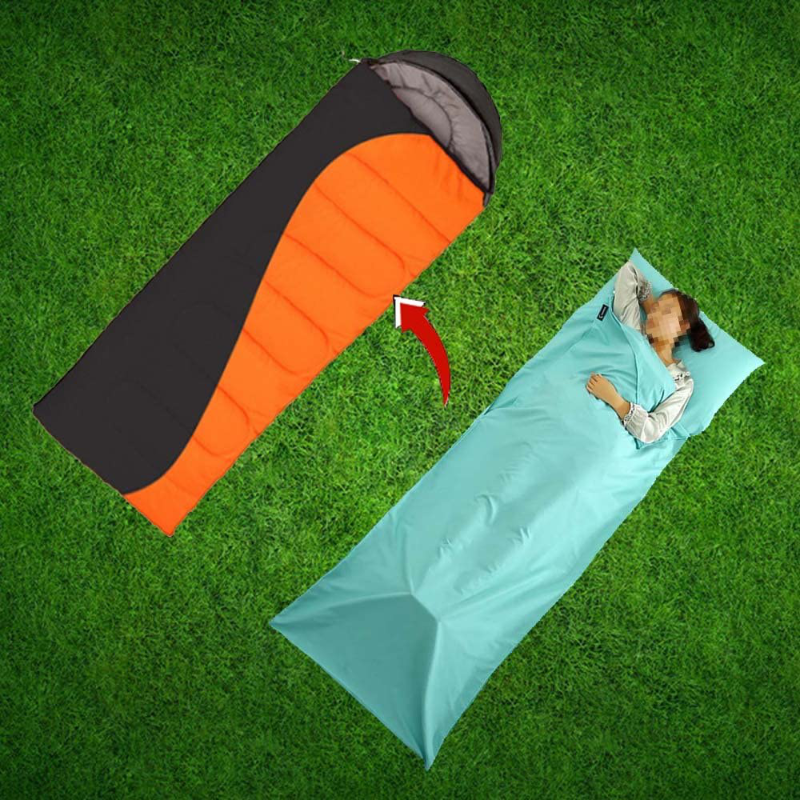 in The Last Two Days Portable Single/Doubles Sleeping Bag Liner Travel and Camping Sheet Traveling Sleeping Bag Liner for Camping/Train Hotel Bedding Sack Easy Clean