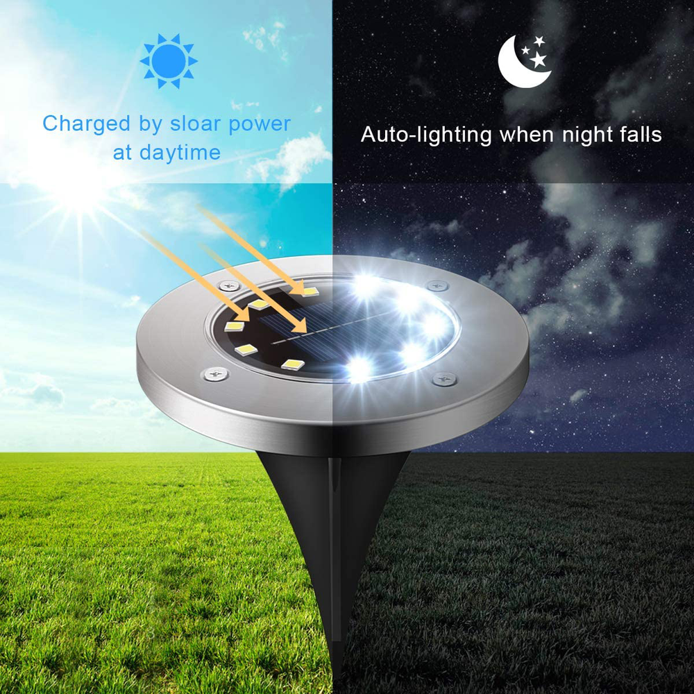 Solar Ground Lights, StarGinz 1 Pack Outdoor Solar Disk Lights Waterproof Light-Controlled Lamp for Patio Pathway Landscape Garden Yard Driveway