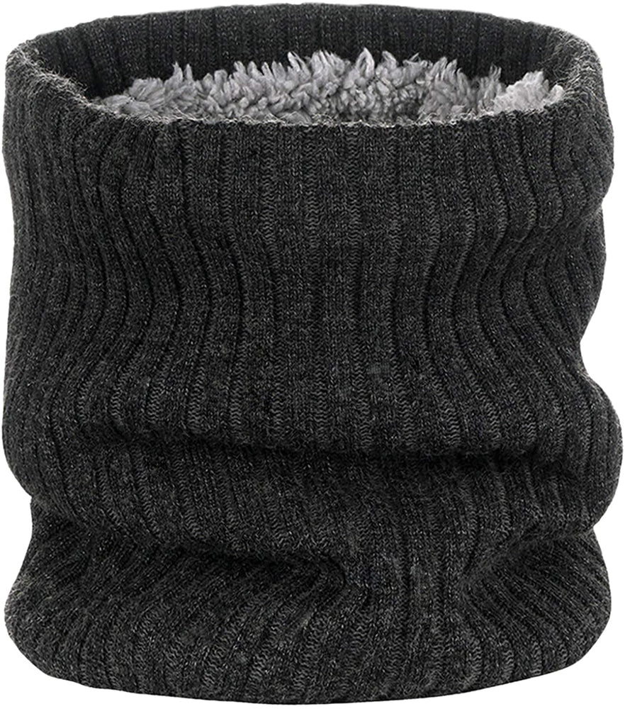 1-2 Pack Neck Warmer Winter Double-Layer Neck Gaiter Soft Fleece Lined Circle Scarf Gifts