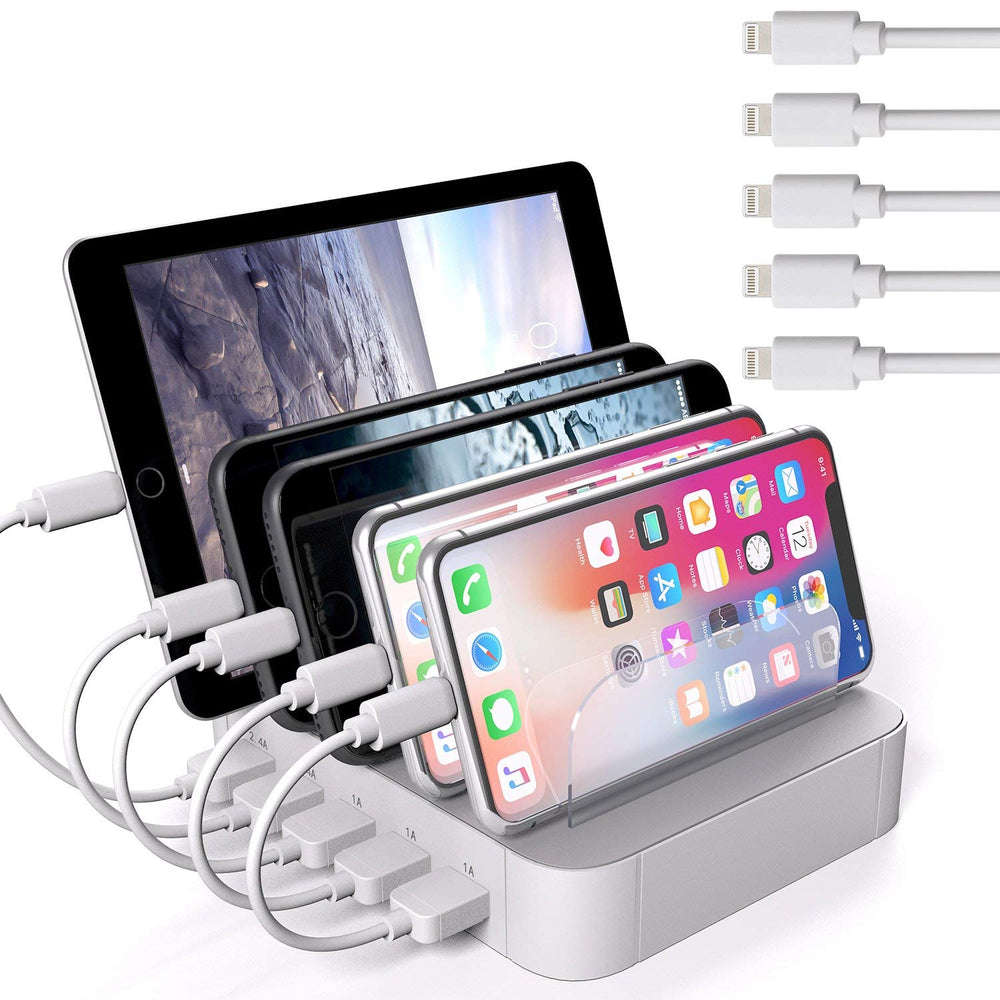5-Port Multi-Device Charging Station with 5 Charge Cables