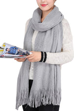 Wander Agio Women's Warm Long Scarves Winter Scarfs Pure Color Scarf Tassel