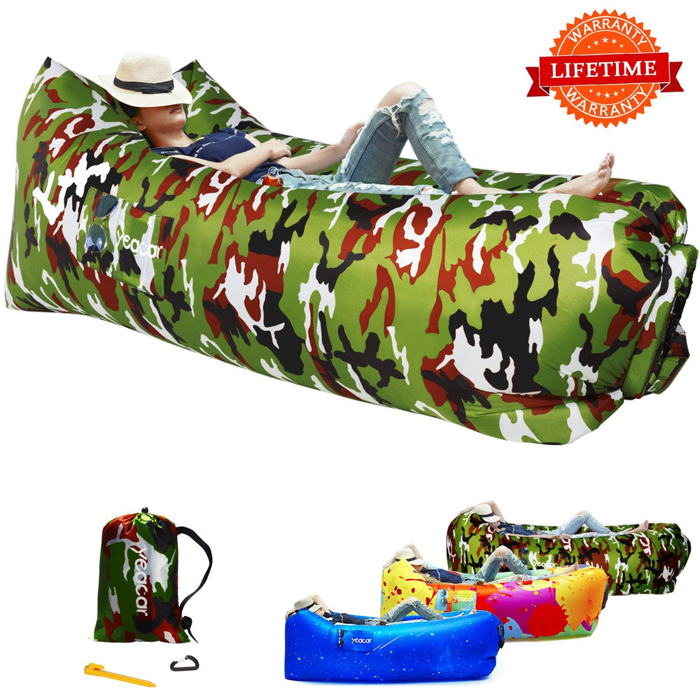 Inflatable Lounger Air Sofa, Portable Waterproof Indoor or Outdoor Inflatable Couch for Camping Park Hiking Travelling Picnics Pool Music Festivals and Beach Party