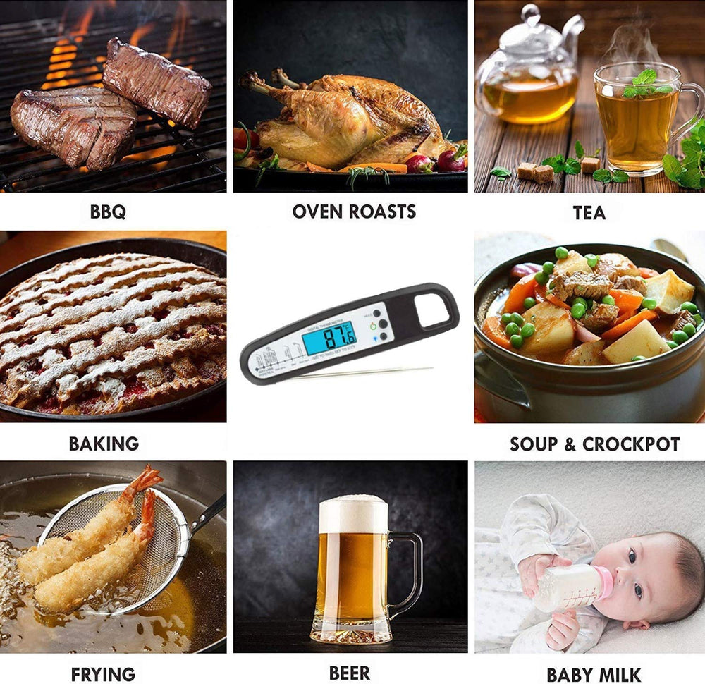 Foldable Instant Read LCD Backlight Kitchen Meat Thermometer