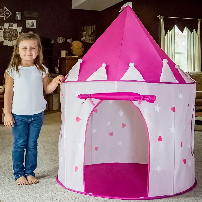 Foxprint Princess Castle Play Tent With Glow In The Dark Stars, Conveniently Folds In To A Carrying Case, Your Kids Will Enjoy This Foldable Pop Up Pink Play Tent/House Toy For Indoor and Outdoor Use