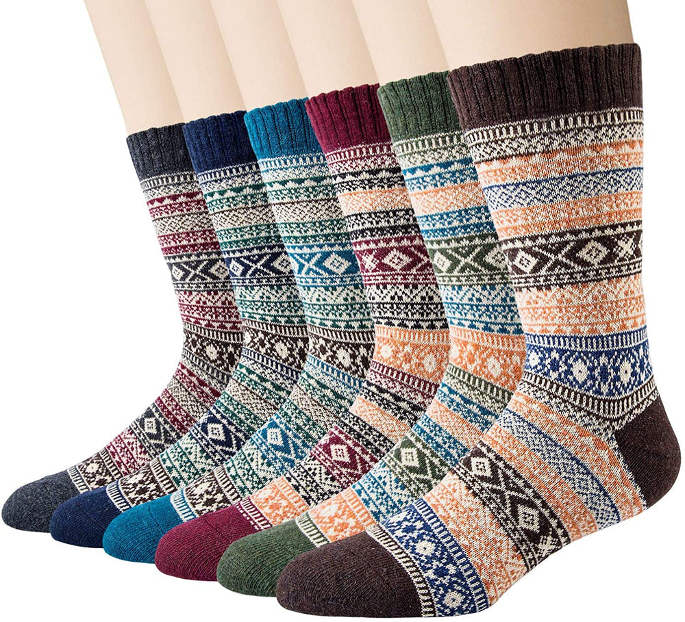6 Pairs Men's Wool Socks - Casual Crew Warm Wool Socks