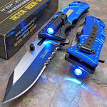 Tactical Police Blue LED Light Rescue Pocket Knife - Stainless Steel Tactical Assisted Open