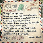 To My Daughter Letter Printed Quilt