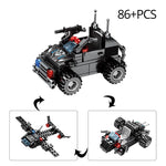 8 in 1 695pcs SWAT Police Command Truck Building Blocks Set