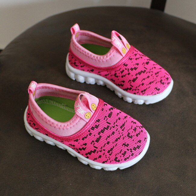 Kid's Candy Color Woven Fabric Air Mesh Sneakers - Pink