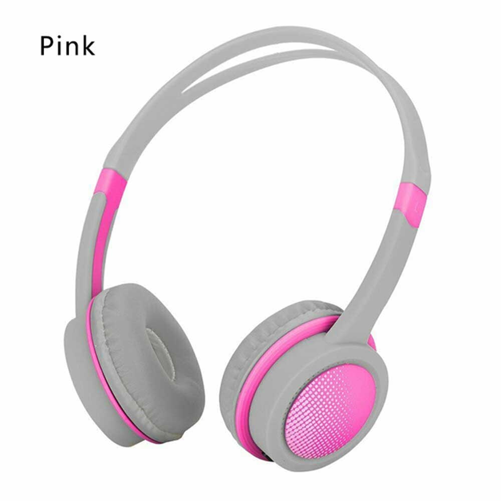 Kid's Adjustable Safety Headphones with Mic - Pink