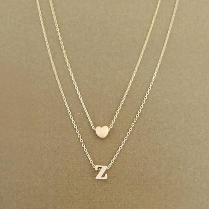 Women's Personalized Initial Heart Necklace - Gold