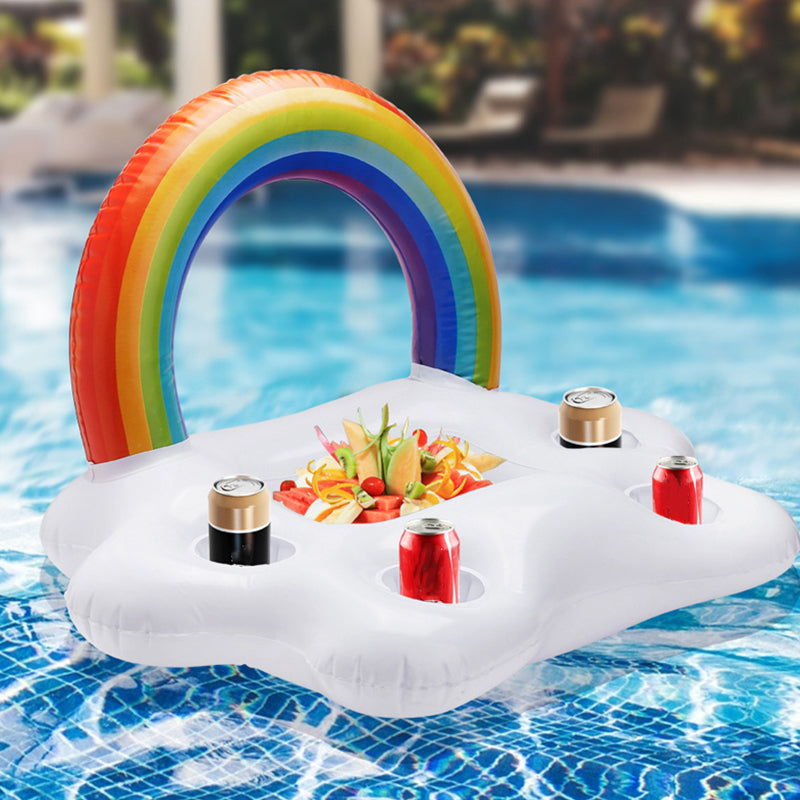 Rainbow Inflatable Pool Float Beer Drinking Cooler Table Bar