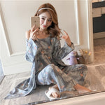 Women's Breathable 3 Piece Pajama Set