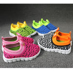Kid's Candy Color Woven Fabric Air Mesh Sneakers