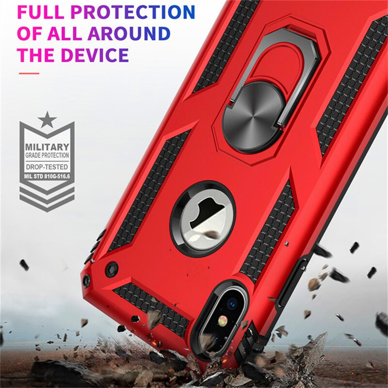 Shockproof Armor Kickstand Phone Case For iPhone with Magnetic Ring Holder