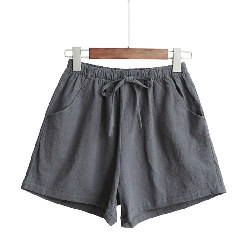 Women's Cotton and Linen High Waist Shorts
