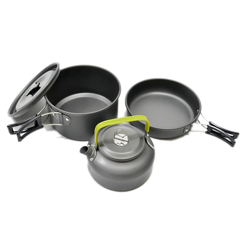 Camping Outdoor Hiking Ultra-light Aluminum Alloy Camping Cookware Set & Free Utensils