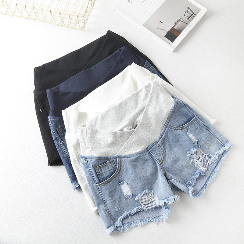 Women's Low-Waisted Denim Maternity Shorts