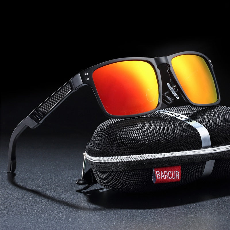 Men's Aluminium Polarized UV400 Square Framed Sunglasses