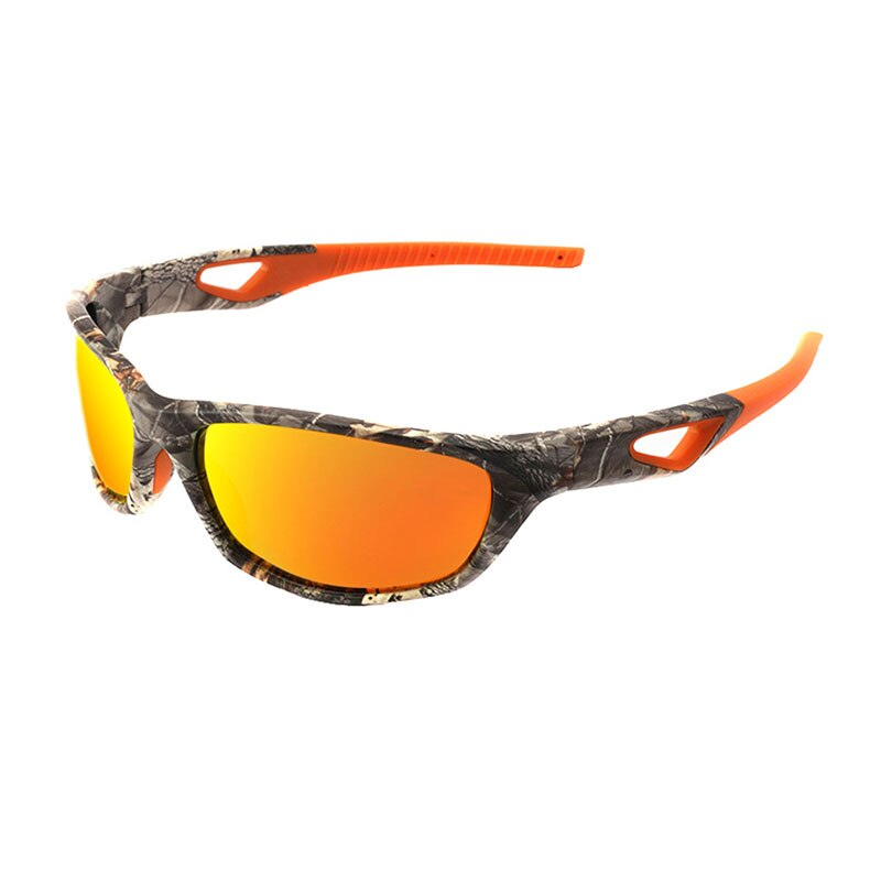 Unisex Polarized TR90 Lightweight Orange Camo Sport Sunglasses
