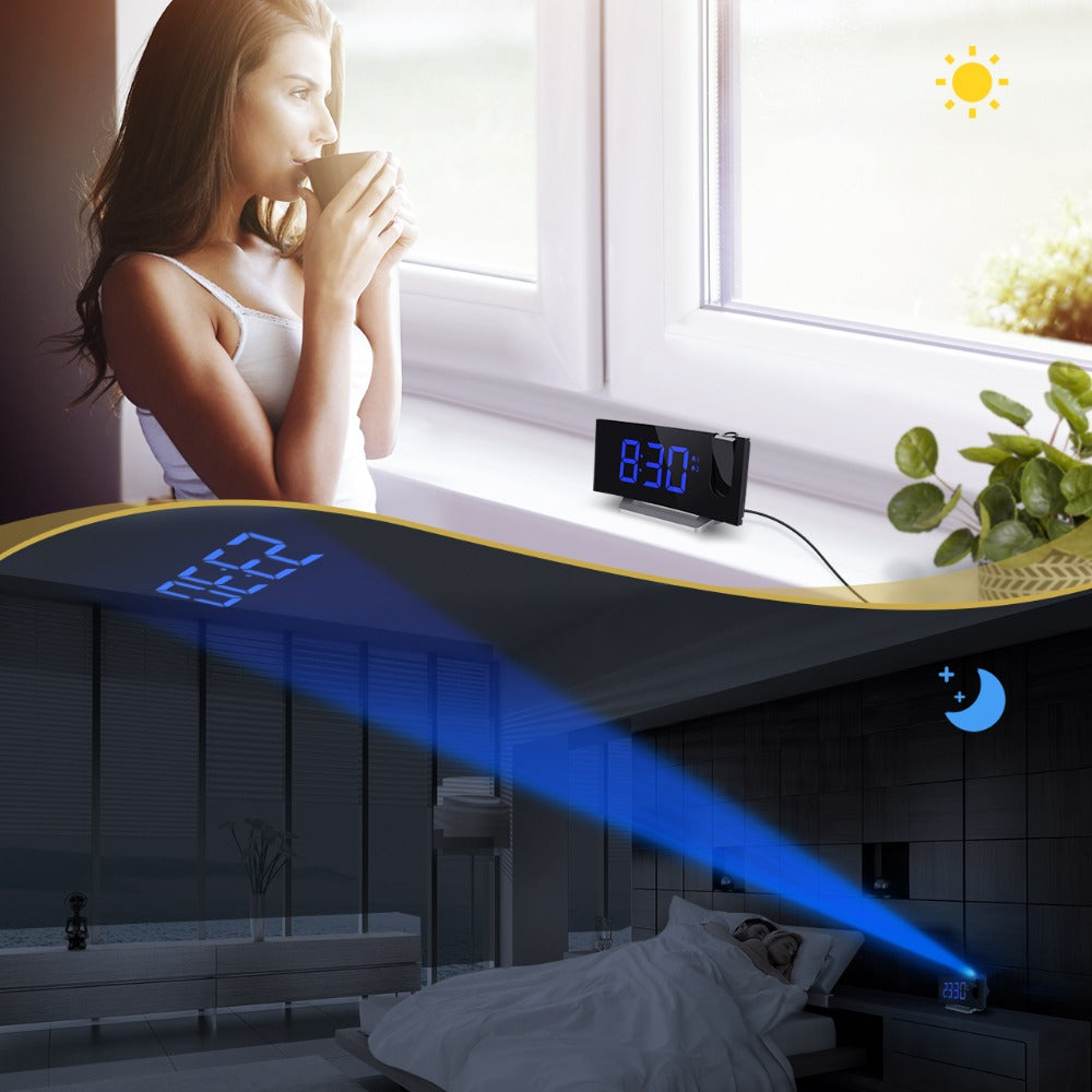 LED FM Projection Clock with 2 Alarms & Multifunctional Curved Screen
