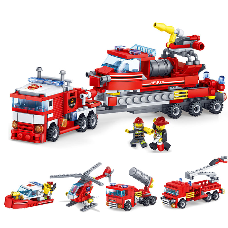 348 pcs 4-in-1 Fire Fighting Building Blocks Set
