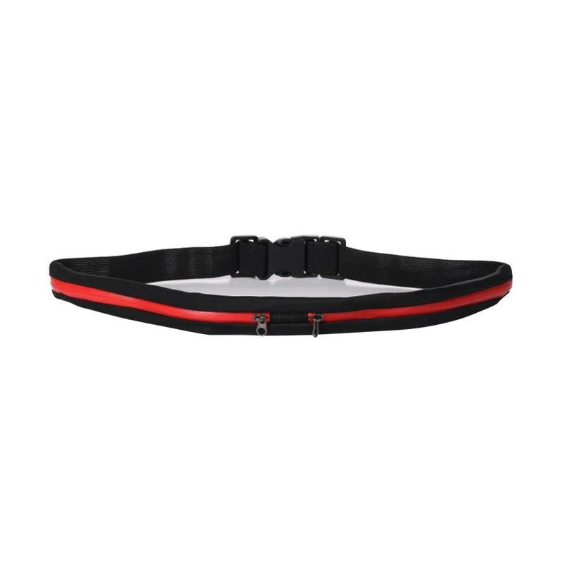 Reflective Safety Running Belt with Anti-Theft Pocket - Red