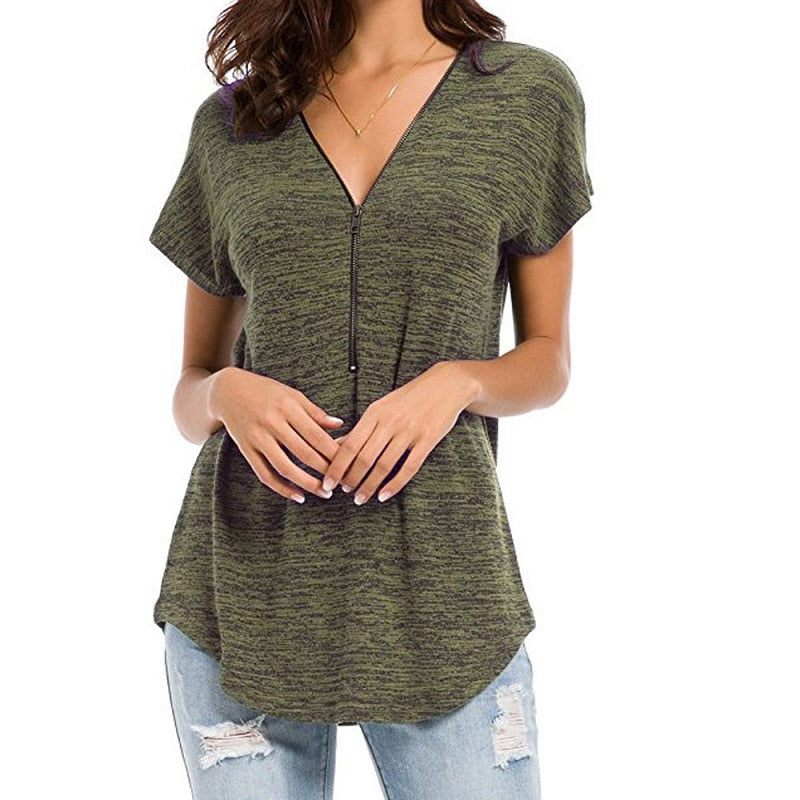 Women's Short Sleeve Zipper V-Neck Top