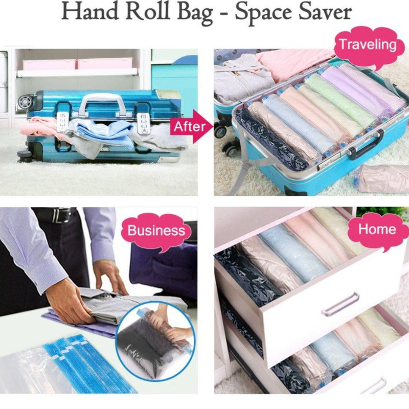 Space-Saving Hand Rolling Compression Bags