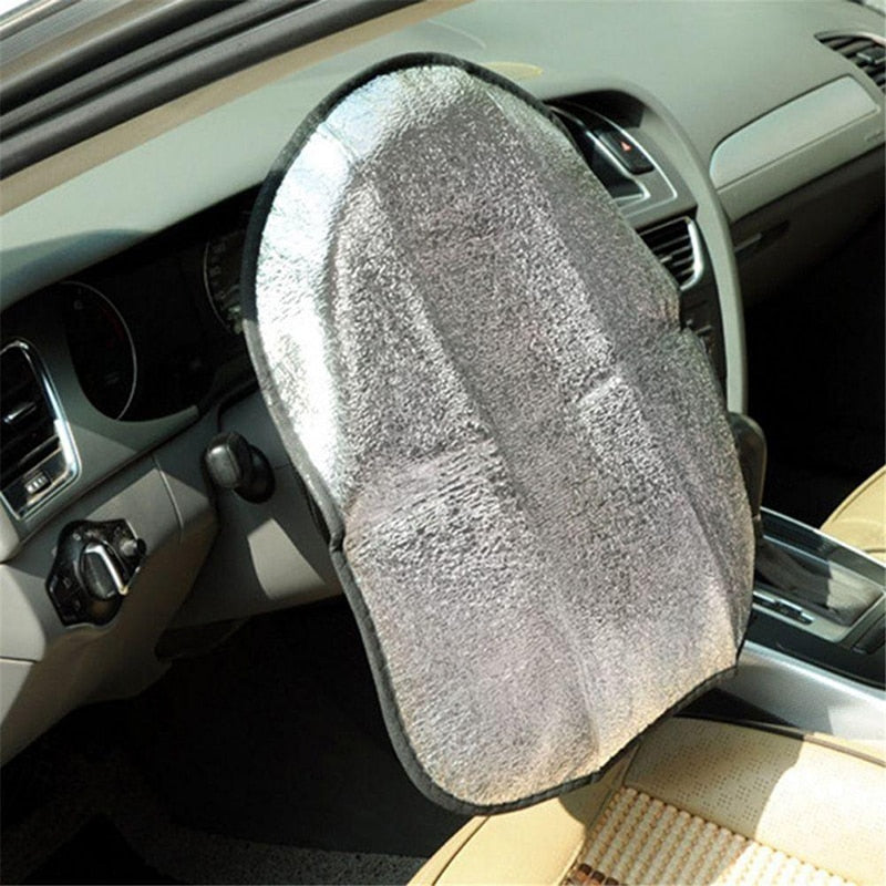 Double Thick Car Steering Wheel Sun Shade Cover