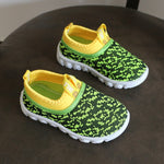 Kid's Candy Color Woven Fabric Air Mesh Sneakers - Green & Yellow